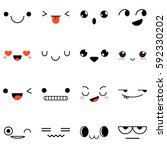 set of 16 emotions isolated on... | Shutterstock .eps vector #592330202