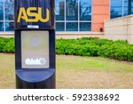"""Small photo of MONTGOMERY, ALABAMA - FEBRUARY 11, 2017: Emergency """"Push For Help"""" station: Emergency assistance stations positioned periodically on the campus of Alabama State University for students under duress."""