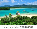 kabira bay which is located on... | Shutterstock . vector #592340582