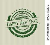 green happy new year grunge seal | Shutterstock .eps vector #592346372