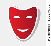 comedy theatrical masks. vector.... | Shutterstock .eps vector #592354772