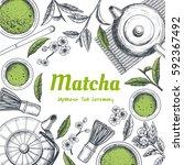 vector frame with tea. japanese ... | Shutterstock .eps vector #592367492
