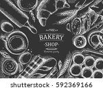 bakery background. linear... | Shutterstock .eps vector #592369166