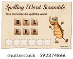 spelling word scramble game... | Shutterstock .eps vector #592374866