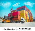 double empty container handling ... | Shutterstock . vector #592379312