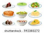 different kinds of food on... | Shutterstock .eps vector #592383272