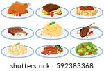 different types of food on the... | Shutterstock .eps vector #592383368