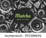 vector frame with tea. japanese ... | Shutterstock .eps vector #592388696