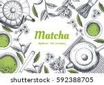 vector frame with tea. japanese ... | Shutterstock .eps vector #592388705
