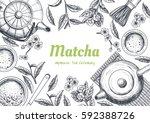 vector frame with tea. japanese ... | Shutterstock .eps vector #592388726