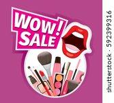 wow sale cosmetics banner for... | Shutterstock .eps vector #592399316