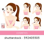 woman with step to apply cheeks ... | Shutterstock .eps vector #592405505