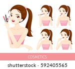 woman with step to apply lip... | Shutterstock .eps vector #592405565