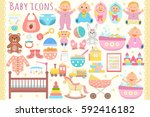 baby flat icons set. vector... | Shutterstock .eps vector #592416182
