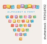 3d alphabet blocks  toy baby... | Shutterstock .eps vector #592416932