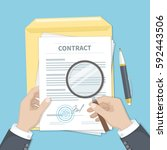 contract inspection concept.... | Shutterstock .eps vector #592443506