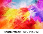 colorful powder explosion on... | Shutterstock . vector #592446842