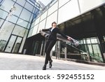 young authentic business woman... | Shutterstock . vector #592455152