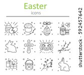 Set Of Easter Icons In The...