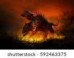 scary cerberus guards the... | Shutterstock . vector #592463375