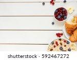 healthy breakfast with oat... | Shutterstock . vector #592467272