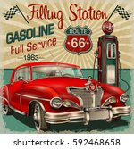 filling station retro poster | Shutterstock .eps vector #592468658