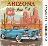 vintage arizona road trip... | Shutterstock .eps vector #592469228