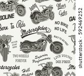 seamless vintage motorcycle... | Shutterstock .eps vector #592469252