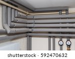 the pipelines in the insulation ... | Shutterstock . vector #592470632