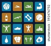 athletic icons set. set of 16