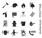 fire emergency icons set | Shutterstock .eps vector #592477268