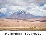 volcano just before storm seen... | Shutterstock . vector #592478312
