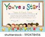 certificate template for star... | Shutterstock .eps vector #592478456