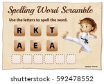 spelling word scramble for word ... | Shutterstock .eps vector #592478552