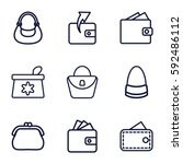 Stock vector purse icons set set of purse outline icons such as make up bag woman bag wallet bag wallet 592486112
