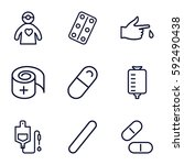 treatment icons set. set of 9... | Shutterstock .eps vector #592490438