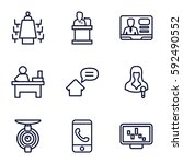 conference icons set. set of 9... | Shutterstock .eps vector #592490552