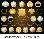 empty gold and silver labels... | Shutterstock .eps vector #592492076