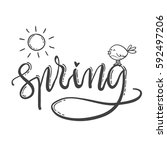 hand drawn lettering spring....   Shutterstock .eps vector #592497206