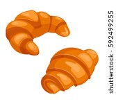 two croissants bake puff pastry ... | Shutterstock .eps vector #592499255