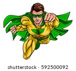 cartoon superhero in a pop art... | Shutterstock .eps vector #592500092