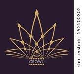 golden crown vector. line art...   Shutterstock .eps vector #592500302