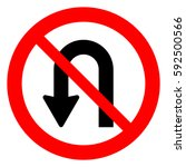 no u turn road sign  vector... | Shutterstock .eps vector #592500566