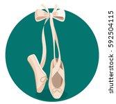 white pointes female ballet... | Shutterstock .eps vector #592504115