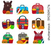 school lunch bags set with... | Shutterstock .eps vector #592509176