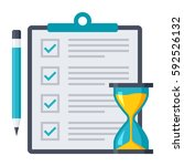 exam or test icon with document ... | Shutterstock .eps vector #592526132