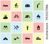 set of 16 editable camping... | Shutterstock .eps vector #592527086