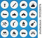 set of 16 editable travel icons.... | Shutterstock .eps vector #592528376