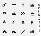 set of 16 editable trip icons.... | Shutterstock .eps vector #592528862