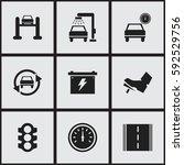 set of 9 editable transport... | Shutterstock .eps vector #592529756